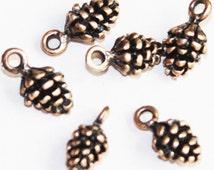 10 pcs of Antique copper Pine Cone charm 13x7mm, Antique Copper Pine Cone drops, Antique Copper Pine Cone pendant