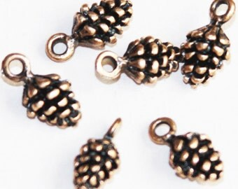 10 pcs of Antique copper Pine Cone charm 13x7mm, Antique Copper Pine Cone drops, Antique Copper Pine Cone pendant