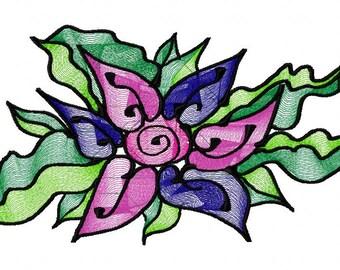 Art Flower Machine Embroidery Design...2544