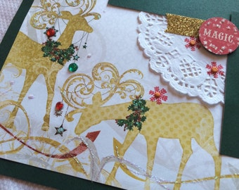 Reindeer Merry Christmas scrapbook pages, Christmas layout