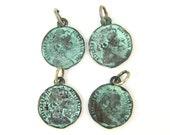 Verdigris Coin Charms Antique Copper Earring Dangle Pendant Jewelry Component |GR9-6|4
