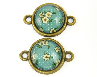 Green Flower Bracelet Connector Jewelry Link Vintage Style Earring Connector Jewely Component  GR3-2 2