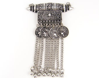 Tribal Antique Silver Pendant Necklace Finding Belly Dance Chain Coin Ornate Ethnic Jewelry Component |S18-12|1