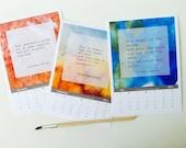 Calendar . 2016 watercolor desk calendar . Rumi . yoga zen . made in usa inspirational quotes . abstract art . gift giving . typography text