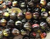 25 Marea Purple/Jet Round Melon Czech Glass Beads 8mm
