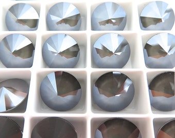 6 Dark Gray Swarovski  Rivoli Stone 1122 12mm