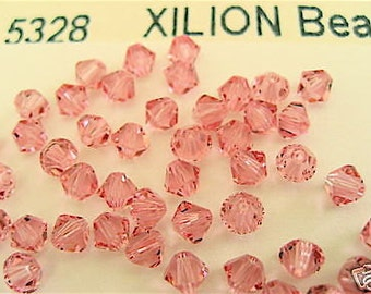 48 Light Rose Swarovski Crystal Beads Bicone 5328 4mm