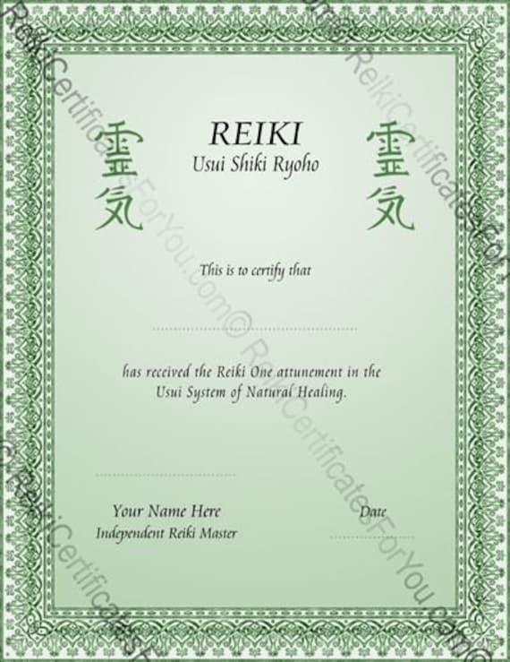 Single color knotwork reiki certificate template portrait for Reiki certificate template software