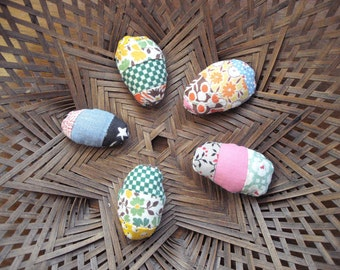 Set of Five Itty Bitty Mini Rustic Primitive Country Fabric Easter Egg Bowlfillers From Vintage Quilt