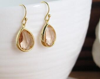 Light Peach Glass Jewels TearDrops, Dangle Drop Glass Earrings, For Mom, For Her. Gold Brass Earrings