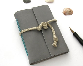 Grey Leather Journal Handmade Beach Sketchbook Travel Diary Nautical Guest Book Unlined Journal Leather Book Handmade Artist's Book