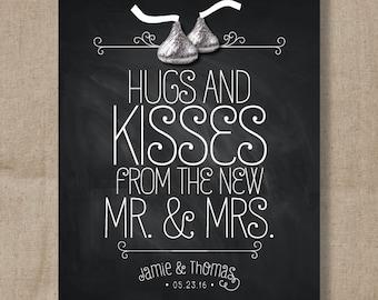 Chocolate Kiss Chalkboard Wedding Favor Sign - Kiss Treat Favor Sign - Wedding Favor Print - Kiss Candy - Favor Table sign
