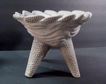 Carved Wave Concrete Art Bowl Planter Lotus Air Plant Centerpiece