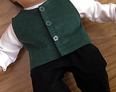 Bitty or Bitty Twin Boy Doll Clothes - Holiday Black Pants, White Turtleneck, Green Vest - 3 piece set
