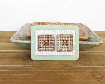 Textured Grid Square Stoneware Buttons in Pistachio Shino Glaze - Set of 2