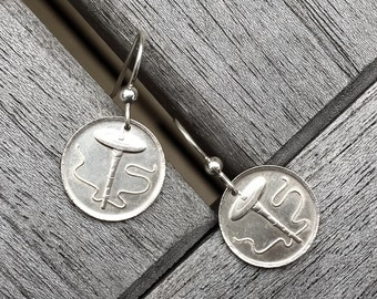 Drop Spindle Coin Earrings with Sterling Silver Hooks