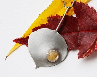 Silver Mountain Aspen Leaf Necklace - Sterling Silver and Gold Rutilated Quartz