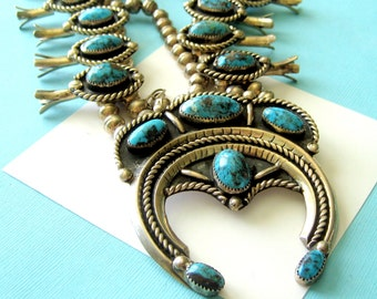 Navajo Sterling Silver and Turquoise Squash Blossom Necklace