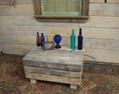 """Lobster Crate Coffee Table (32""""x21""""x 16 to 19""""H)White Washed and Poly finished"""