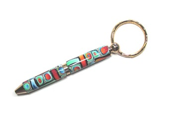 Key ring Mini twist pen gold accents refillable intricate Millefiori polymer clay design KRP15