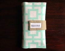 On-The-Go Diaper Clutch Mint Geometric Square Canvas - Personalized