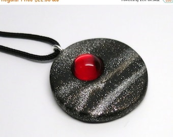 SUMMER SALE Pendant Polymer Clay with Vintage Ruby Glass Cabochon