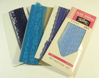 Vintage Blue Lace Seam Binding Collection
