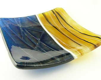 Colorful Square Fused Glass Sushi Plate Dish in Navy Indigo Blue Amber Topaz Ivory Black and White