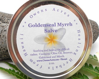 Goldenseal Myrrh Salve - Skin Rash, Dry Skin, Antibiotic, Anti Inflammatory, Skin Problems, Herbal Salve, Skin Salve