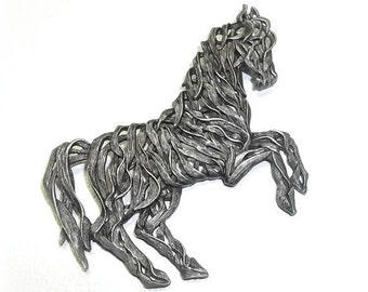 Pierced Horse JJ pin Jonette brooch open work pewter