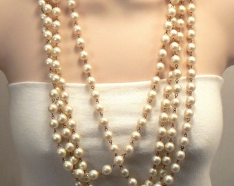 Frosted White Necklace, Dramatic MultiStrand Frosted White Necklace, Lightweight Bold Necklace, 4 Strand Statement Bead Link Necklace (N309)
