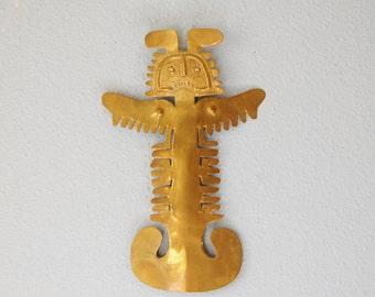 Vintage Brass Wall Hanging Mexican Folk Spirit Art 1960s 70s