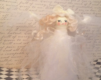 Ghastlie ghost girl tree topper halloween ghost party decor ghost centerpiece toni kelly creepy doll vintage retro inspired off white ghost