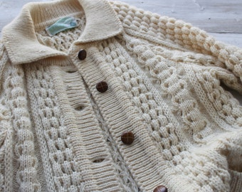 Button Up Fisherman Sweater , Button Up Cardigan, Off White,Size M,  38, Medium, Leather Buttons, Irish, Gift for her, Winter  Country