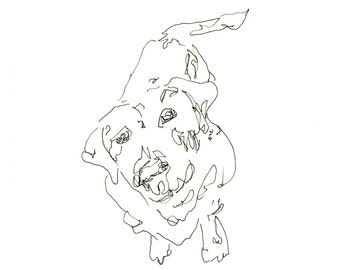 dog art - giclee print 8X10 - sitting puppy, gestural expressive pen ink line drawing