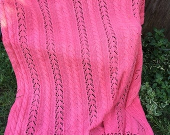 Vintage Peachy Pink Cable Knit Afghan or Lap Throw with Fringe