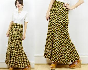 70s boho maxi skirt, hippie skirt, floral maxi skirt, 70s maxi skirt, hippie print skirt, boho skirt, flared skirt, 70s hippie skirt, retro