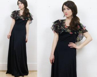 70s maxi dress, black dress, vintage black dress, boho dress, hippie dress, floral maxi dress, 70s boho dress, evening dress,