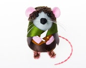 Frodo Baggins Mouse - Lord of the Rings Inspired collectable art rat artists mice sculpture toy gift for boyfriend husband dad LOTR fan