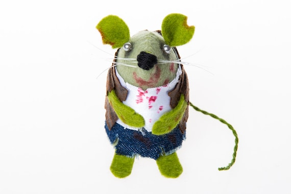 Zombie Mouse - collectable halloween art rat artists mice felt mouse cute soft sculpture toy stuffed plush doll gift for zombie apocalypse
