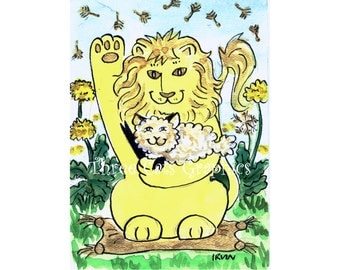 Dandy Lion  Luck - Choose from ACEO Print, Note Cards, or Art Print