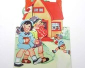Vintage Valentine Greeting Card for Teacher with Pretty Girl and Boy Holding Hands Schoolhouse