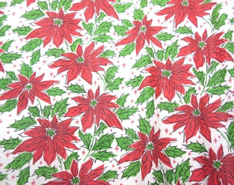Vintage Red and Green Rolled Christmas Wrapping Paper or Gift Wrap with Poinsettias