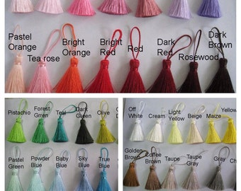 4 Pieces of Short Silk Tassel  - Choose your own color combination - Rainbow White Yellow Pink Red Green Purple Blue