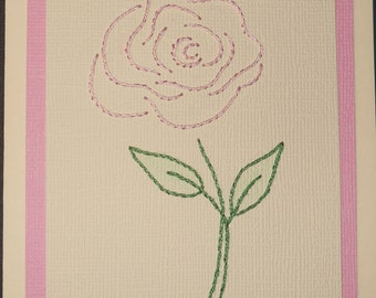 Pink Rose Hand-Stitched Note Cards - Pack of Five