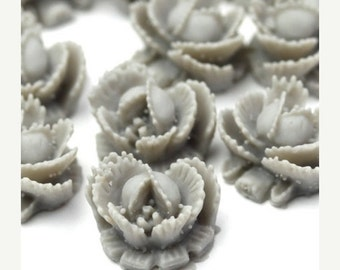 50% OFF SALE Flower Cabochons Plastic Ruffled Rose 11mm Matte Gray (6) PC237