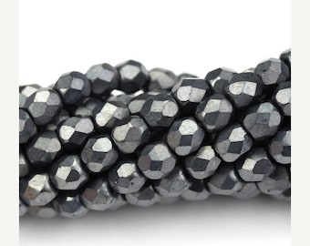 50% Off Sale Czech Glass Beads Fire Polished Faceted Rounds 4mm Matte Hematite (50) CZF591