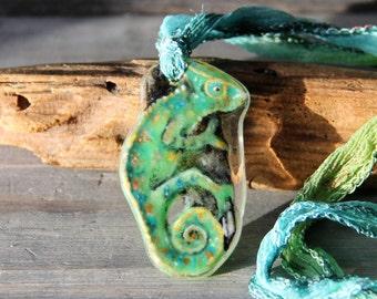 Chameleon -  fused glass pendant
