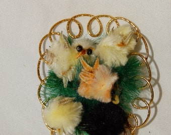Sale Rare Vintage Chenille Easter Chick Decoration, Circa 1960's Easter Ornament, Easter Basket Decoration, Easter Peeps