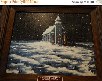 "ON SALE Limited Edition Giclee' framed print by Donny Hickmott of Texas, ""Sanctuary"" Church on winter's night, falling snow, Folk Art, Cowbo"